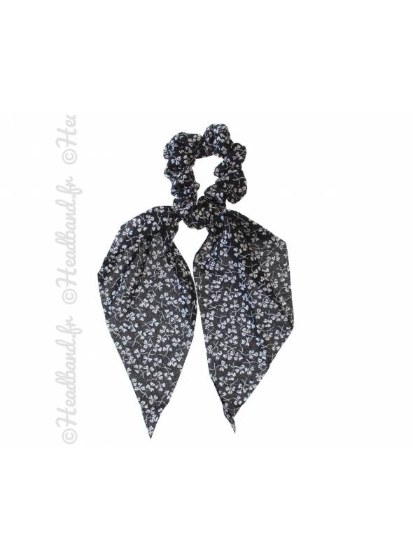 Chouchou foulard motif trêfle noir