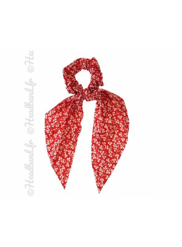 Chouchou foulard motif trêfle rouge