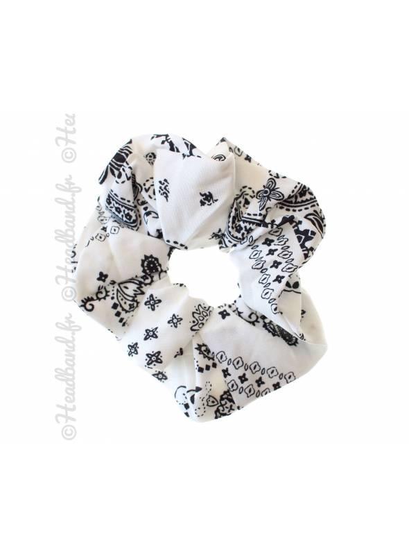 Chouchou motif bandana blanc