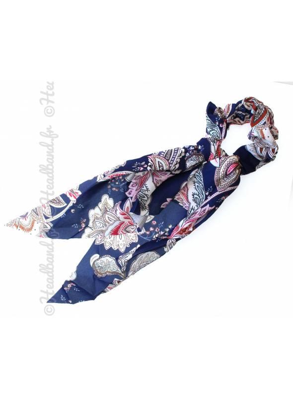 Chouchou foulard motif rétro bleu