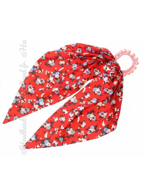 Chouchou foulard perles fleuri rouge