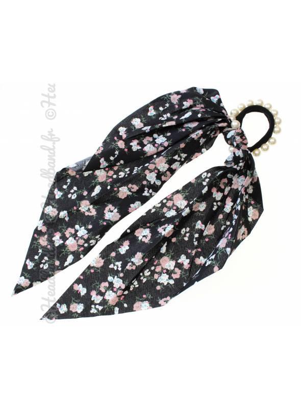 Chouchou foulard perles fleuri noir