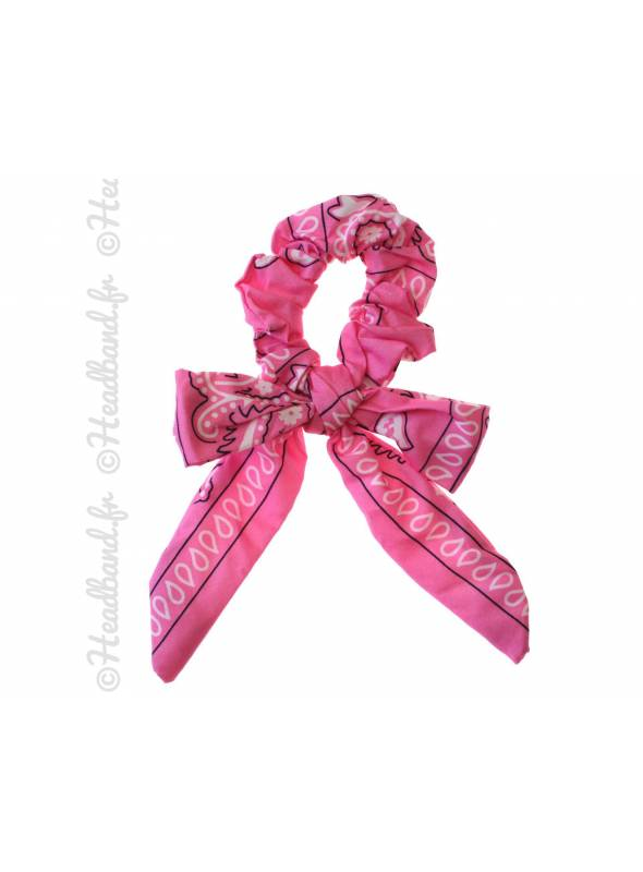 Chouchou noeud motif bandana rose