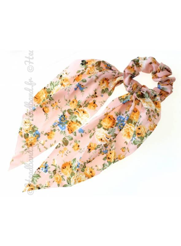 Chouchou foulard long fleurs rose