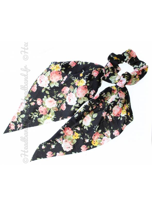 Chouchou foulard long fleurs noir