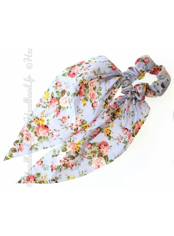 Chouchou foulard long fleurs bleu ciel