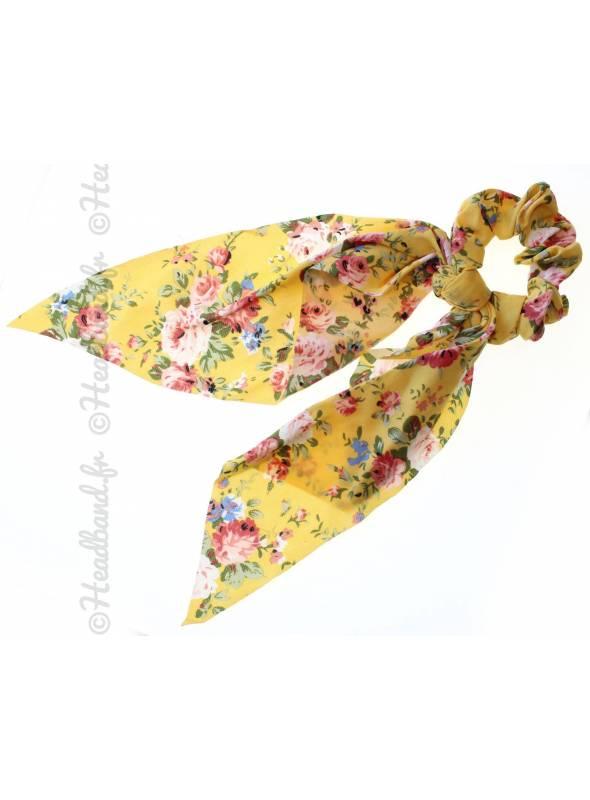Chouchou foulard long fleurs jaune