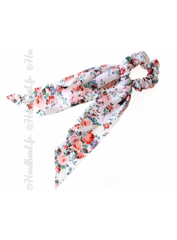 Chouchou foulard long fleurs blanc