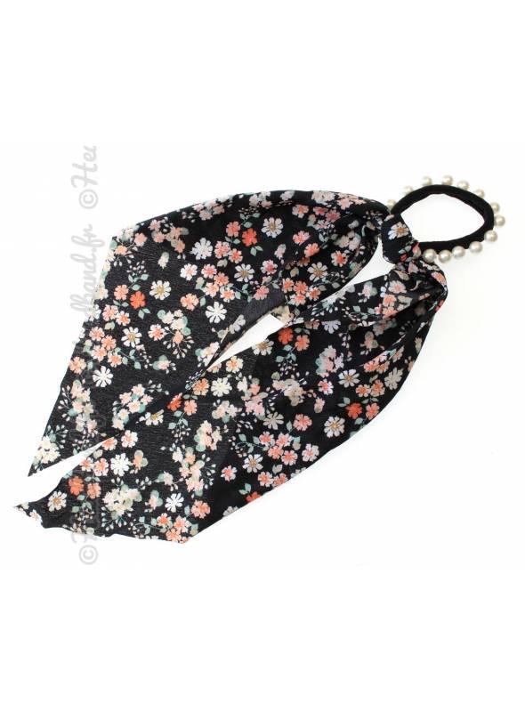 Chouchou long rétro fleuri noir