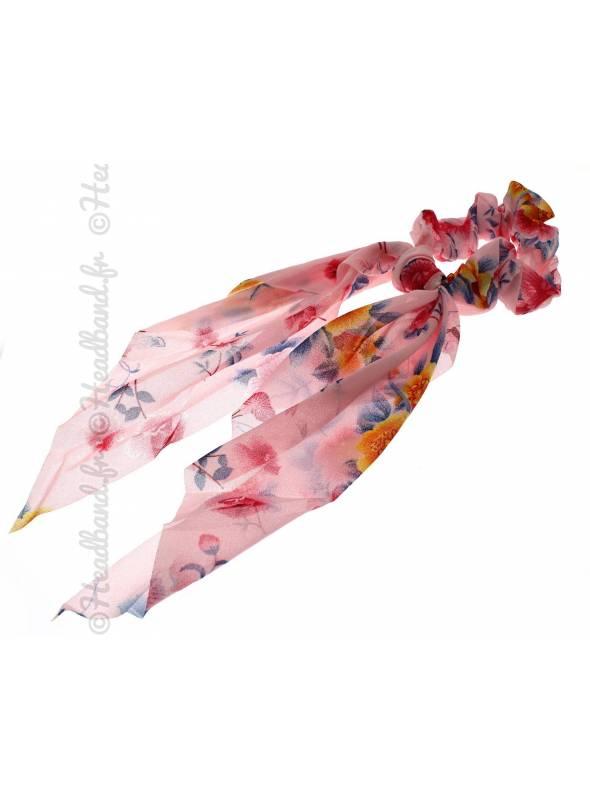 Chouchou long motif fleuri rose