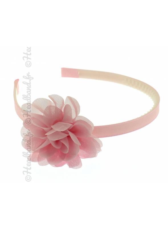 Serre-tête fleur mousseline rose