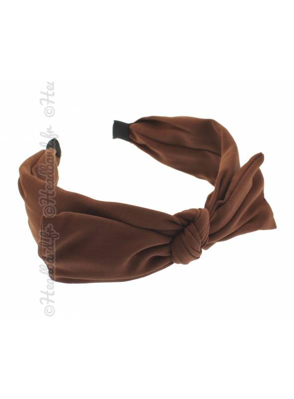 Serre-tête simple noeud uni marron