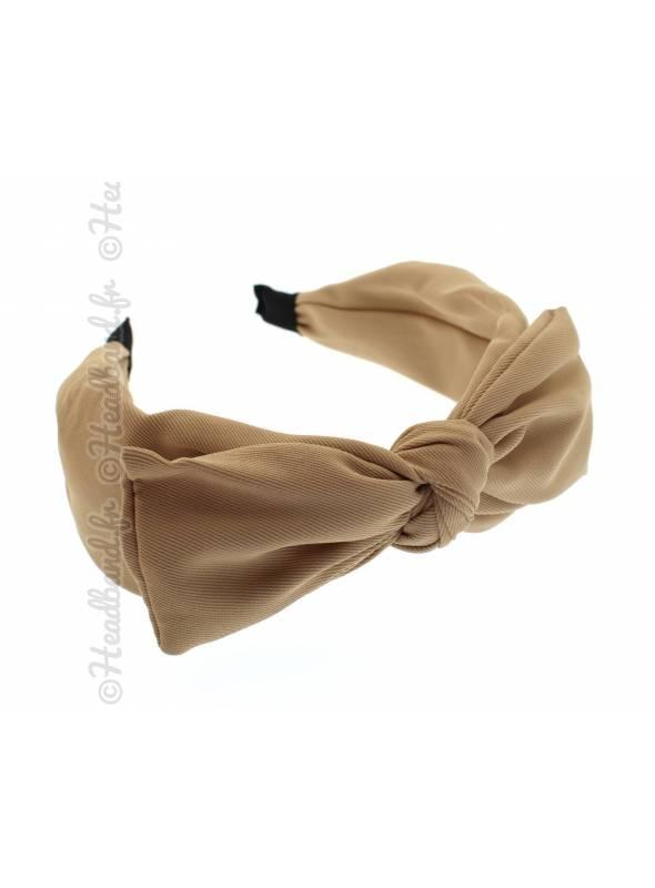 Serre-tête simple noeud uni beige
