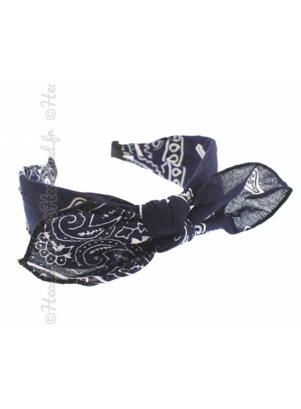 Serre-tête noeud imprimé bandana bleu