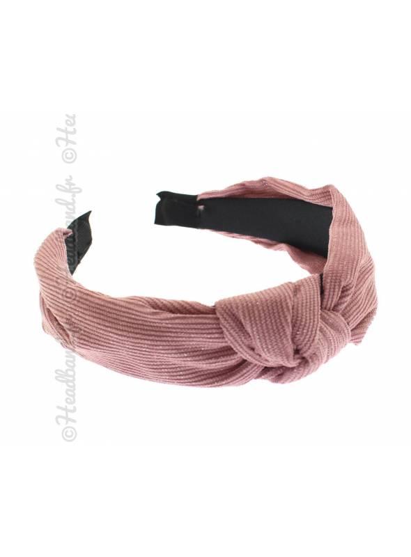 Serre-tête velours côtelé rose