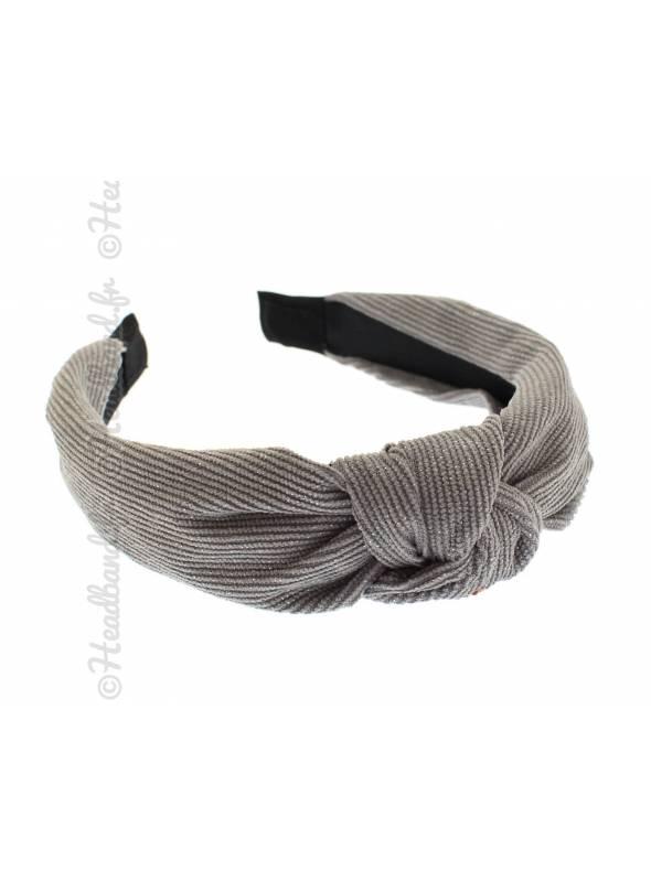 Serre-tête velours côtelé gris