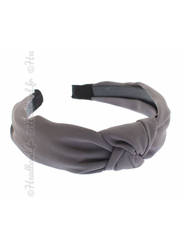 Serre-tête turban rétro uni gris