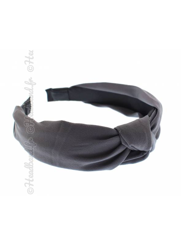Serre-tête rétro turban mousseline gris