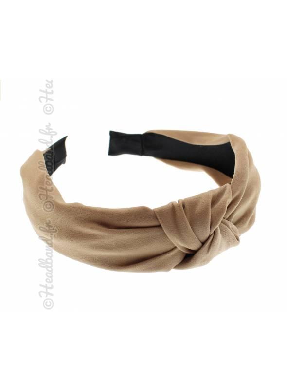 Serre-tête rétro turban mousseline beige