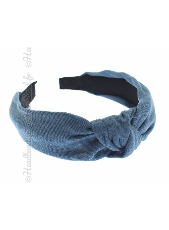Serre-tête turban textile uni bleu