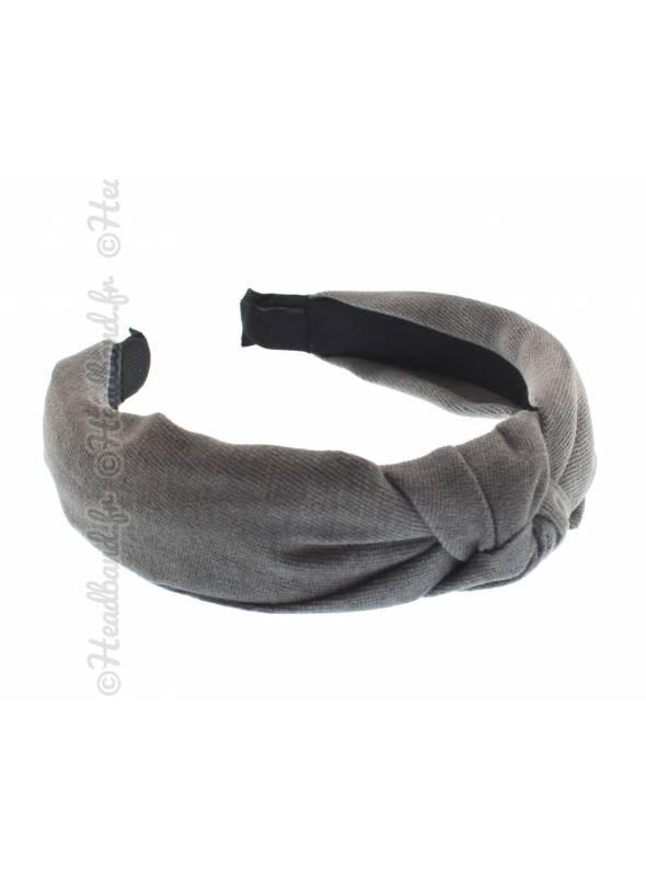Serre-tête turban textile uni gris