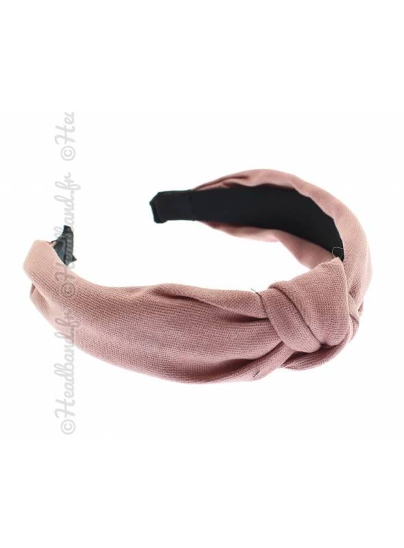 Serre-tête turban textile uni rose