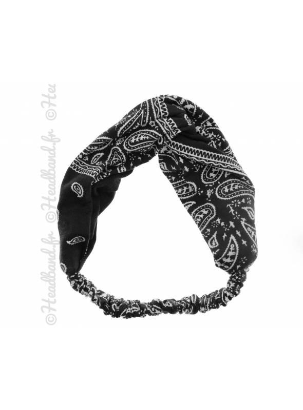 Bandana turban croisé noir