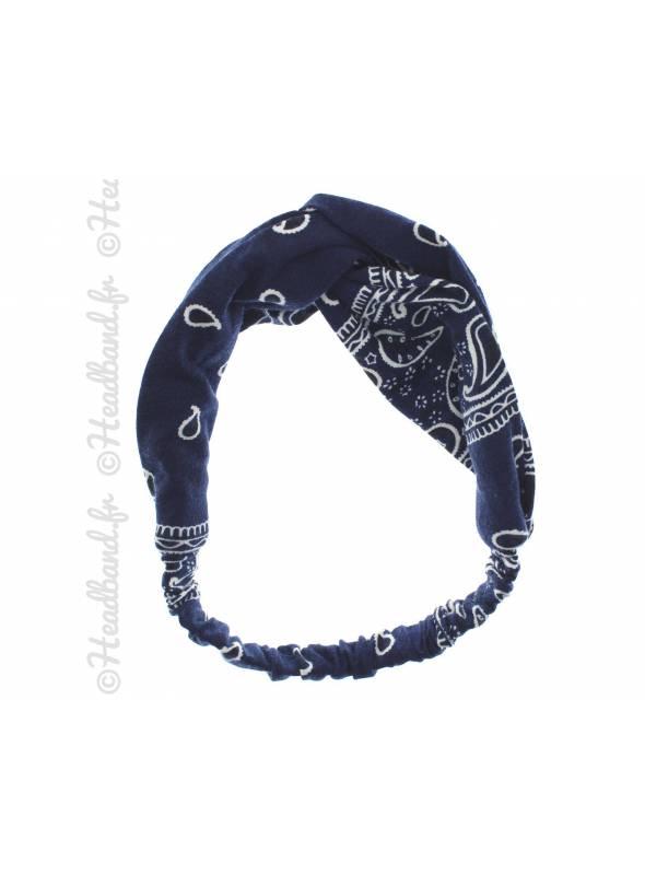 Bandana turban croisé bleu