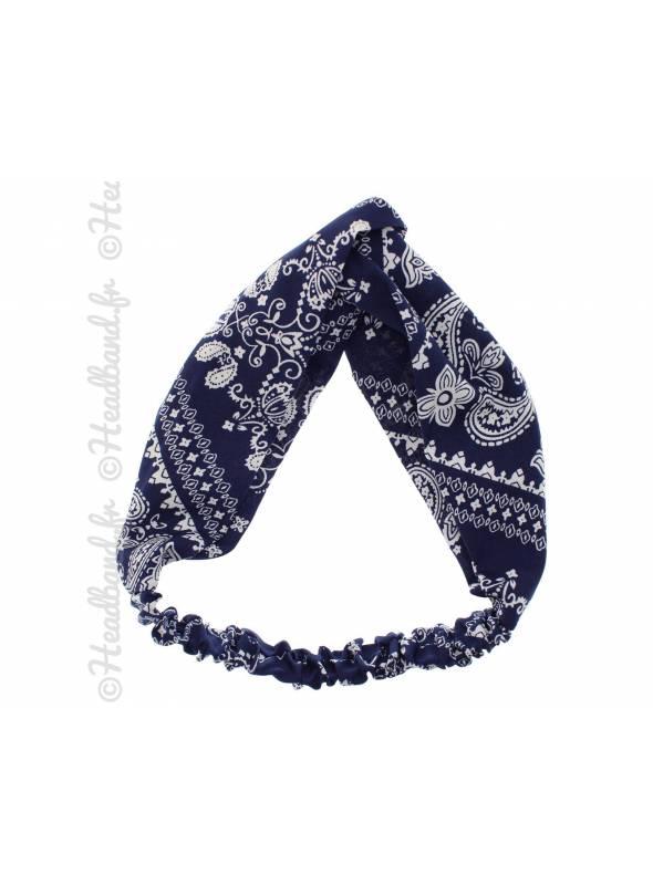 Bandeau imprimé paisley bleu