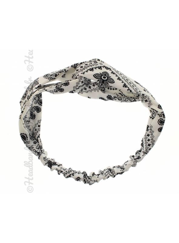Bandeau imprimé paisley blanc