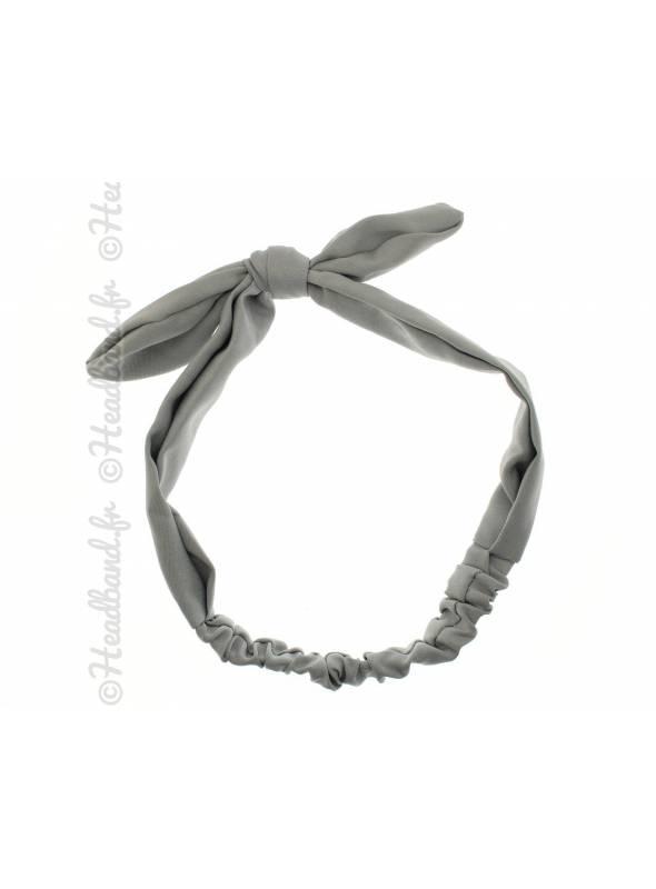 Headband noeud tissu uni gris