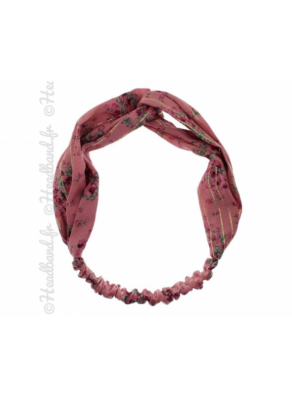 Headband croisé mousseline fleurs rose