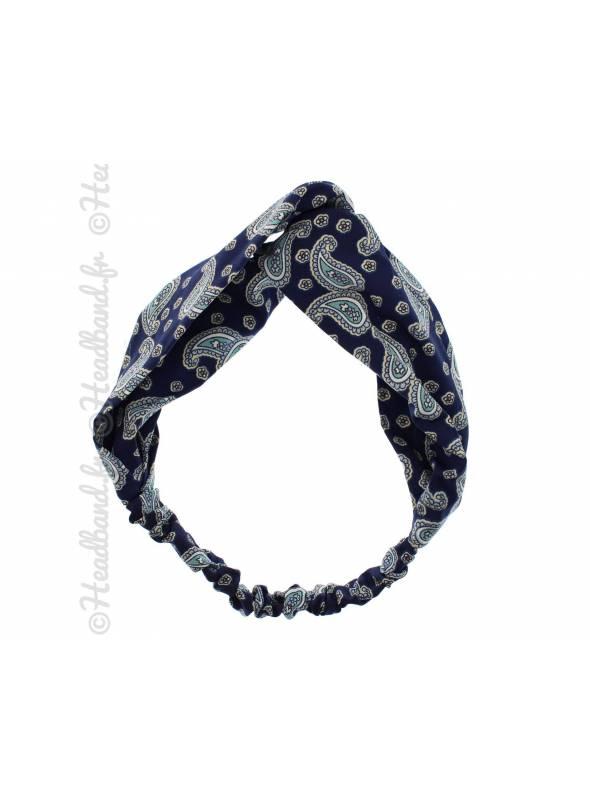 Bandeau croisé vintage bleu