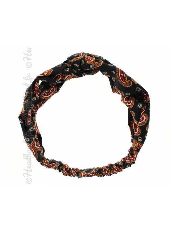 Bandeau rétro noeud marin palmettes noir