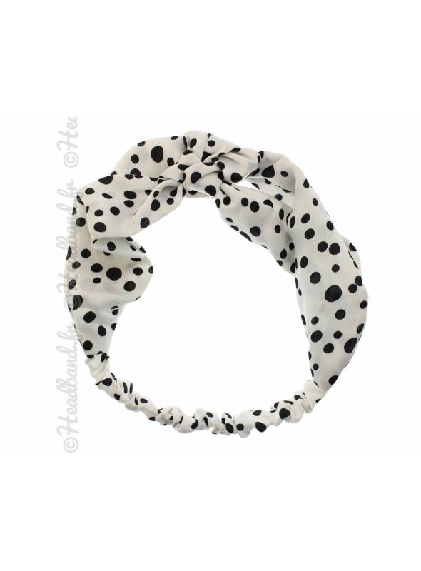 Bandeau noeud marin à pois blanc