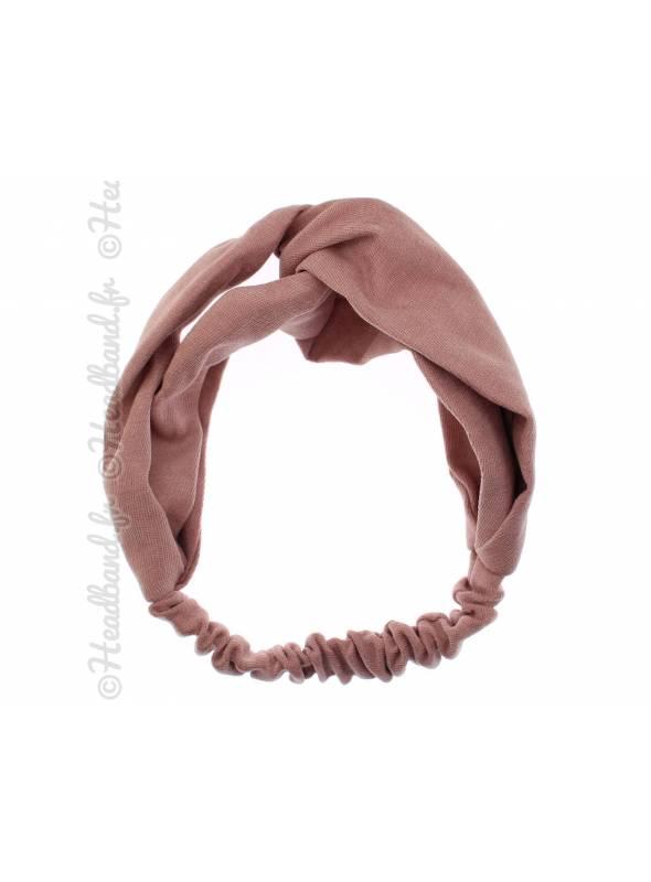 Headband croisé tissu uni rose