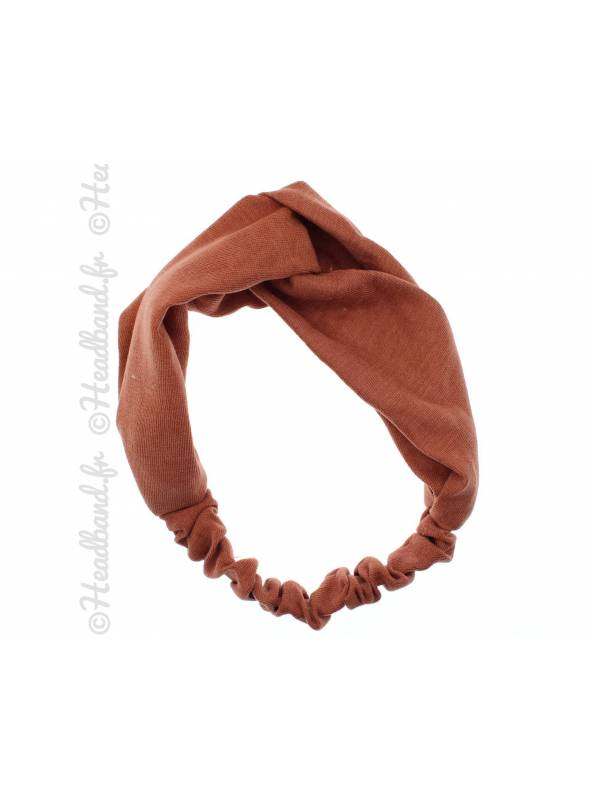 Headband croisé tissu uni camel