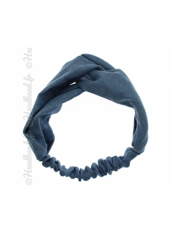 Headband croisé tissu uni bleu