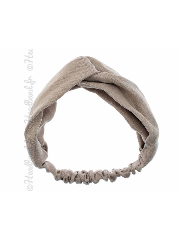 Headband croisé tissu uni beige