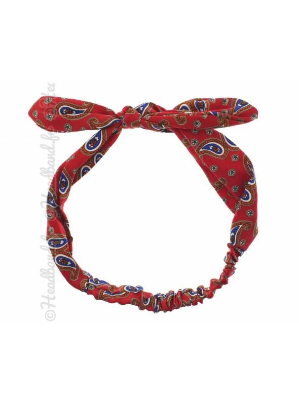 Headband noeud vintage rouge