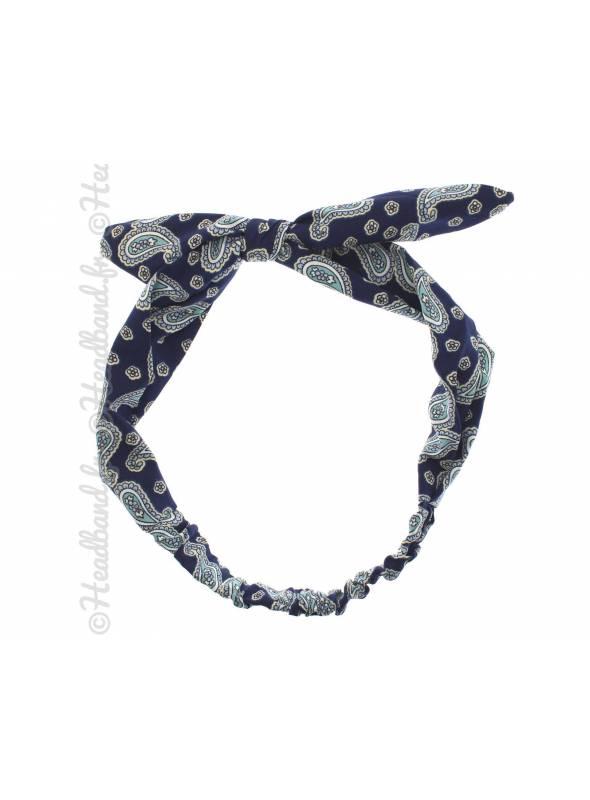 Headband noeud vintage marine