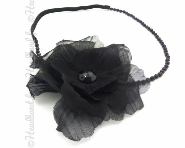 Headband fleur perlé noir