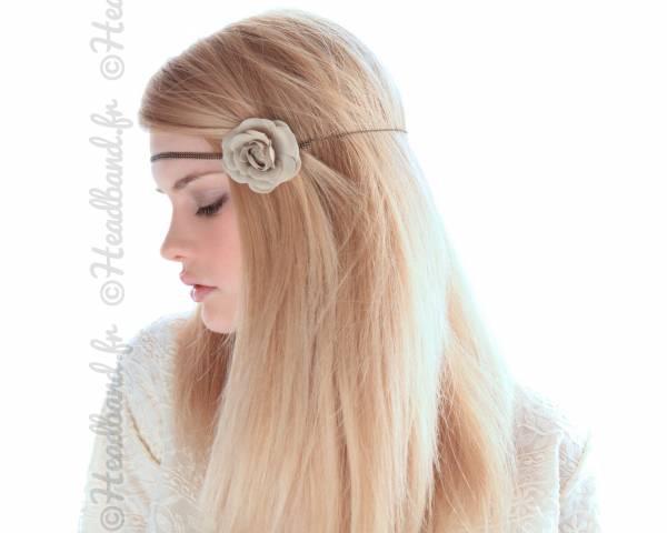 Headband fleur camélia gris