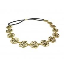 Headband fleur métal bronze porté