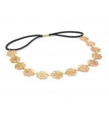 Headband fleur métal doré porté