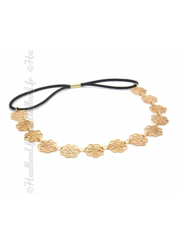Headband fleur métal doré