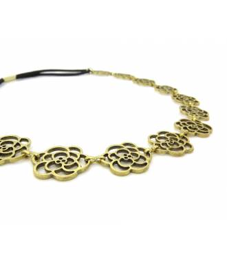 Headband fleur métal bronze zoom