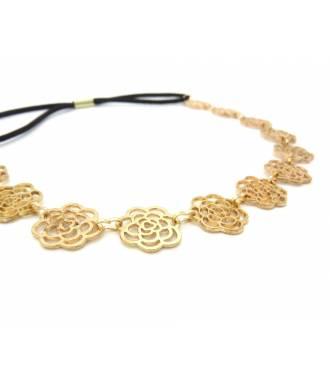Headband fleur métal doré zoom