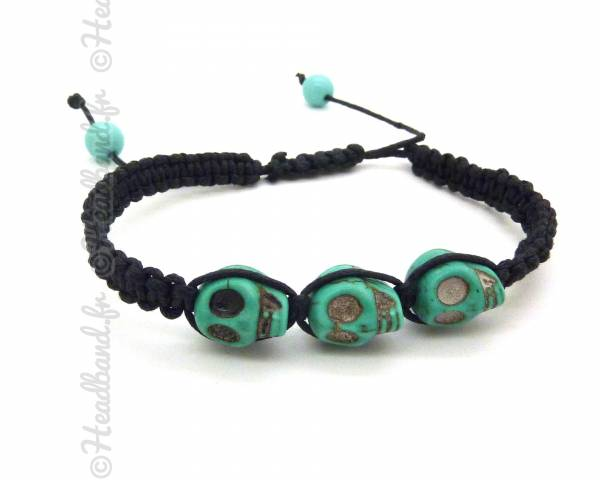 Bracelet shamballa tête de mort turquoise