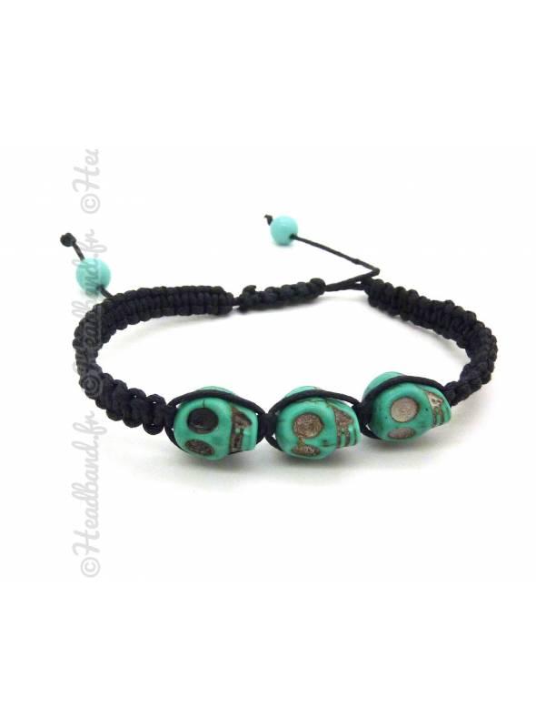 Bracelet tête de mort turquoise